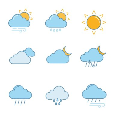 Weather forecast color icons set. Partly cloudy and windy weather, drizzle rain, sun, clouds, night, pouring and drizzle rain, wind, overcast, sleet. Isolated vector illustrations icon