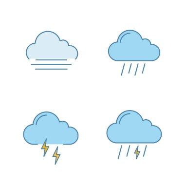Weather forecast color icons set. Autumn. Fog, rainy weather, thunder, thunderstorm. Isolated vector illustrations icon