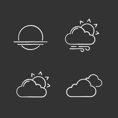 Weather forecast chalk icons set. Sunrise, sunset, partly cloudy and windy weather, clouds. Isolated vector chalkboard illustrations icon
