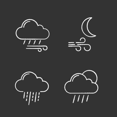 Weather forecast chalk icons set. Windy rainy weather, wind at night, heavy rain, scattered shower. Isolated vector chalkboard illustrations icon