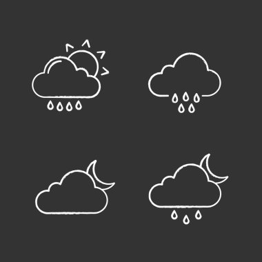 Weather forecast chalk icons set. Rain with sun, rainy weather, cloudy night, drizzle and scattered shower. Isolated vector chalkboard illustrations icon
