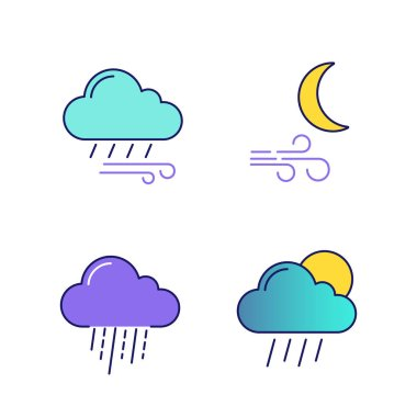 Weather forecast color icons set. Windy rainy weather, wind at night, heavy rain, scattered shower. Isolated vector illustrations icon