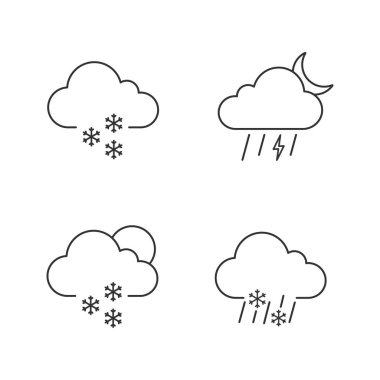 Weather forecast linear icons set. Light snow, night thunderstorm, scattered snow, sleet weather. Thin line contour symbols. Isolated vector outline illustrations. Editable stroke icon