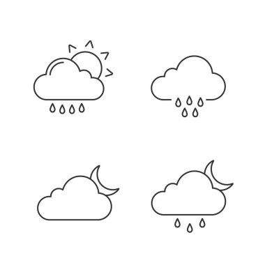 Weather forecast linear icons set. Rain with sun, rainy weather, cloudy night, drizzle and scattered shower. Thin line contour symbols. Isolated vector outline illustrations. Editable stroke icon