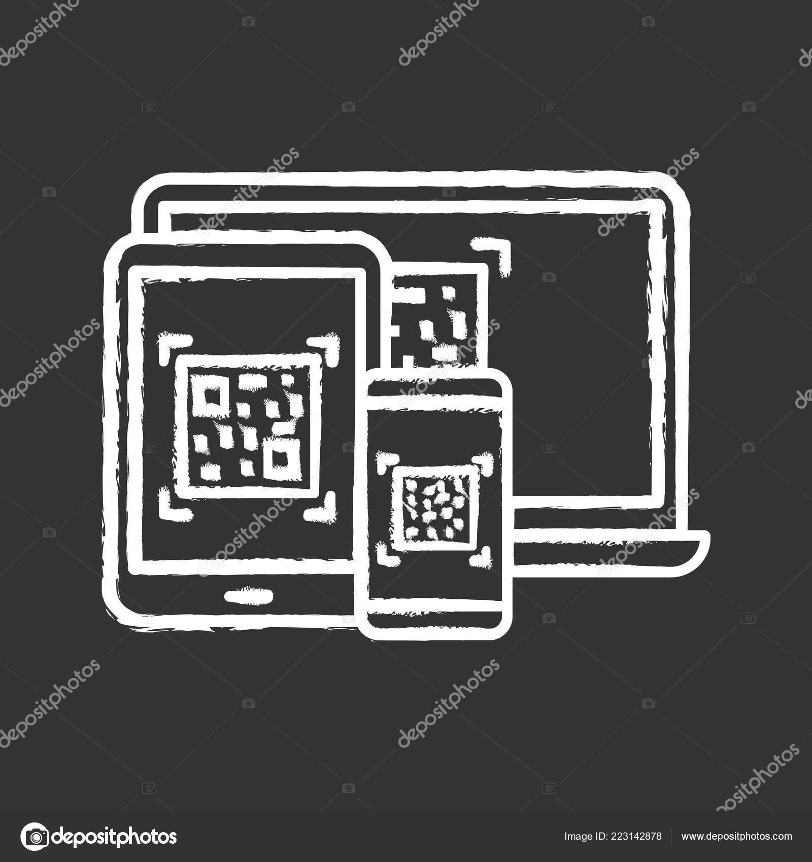 Codes Different Devices Chalk Icon Matrix Barcodes Generator