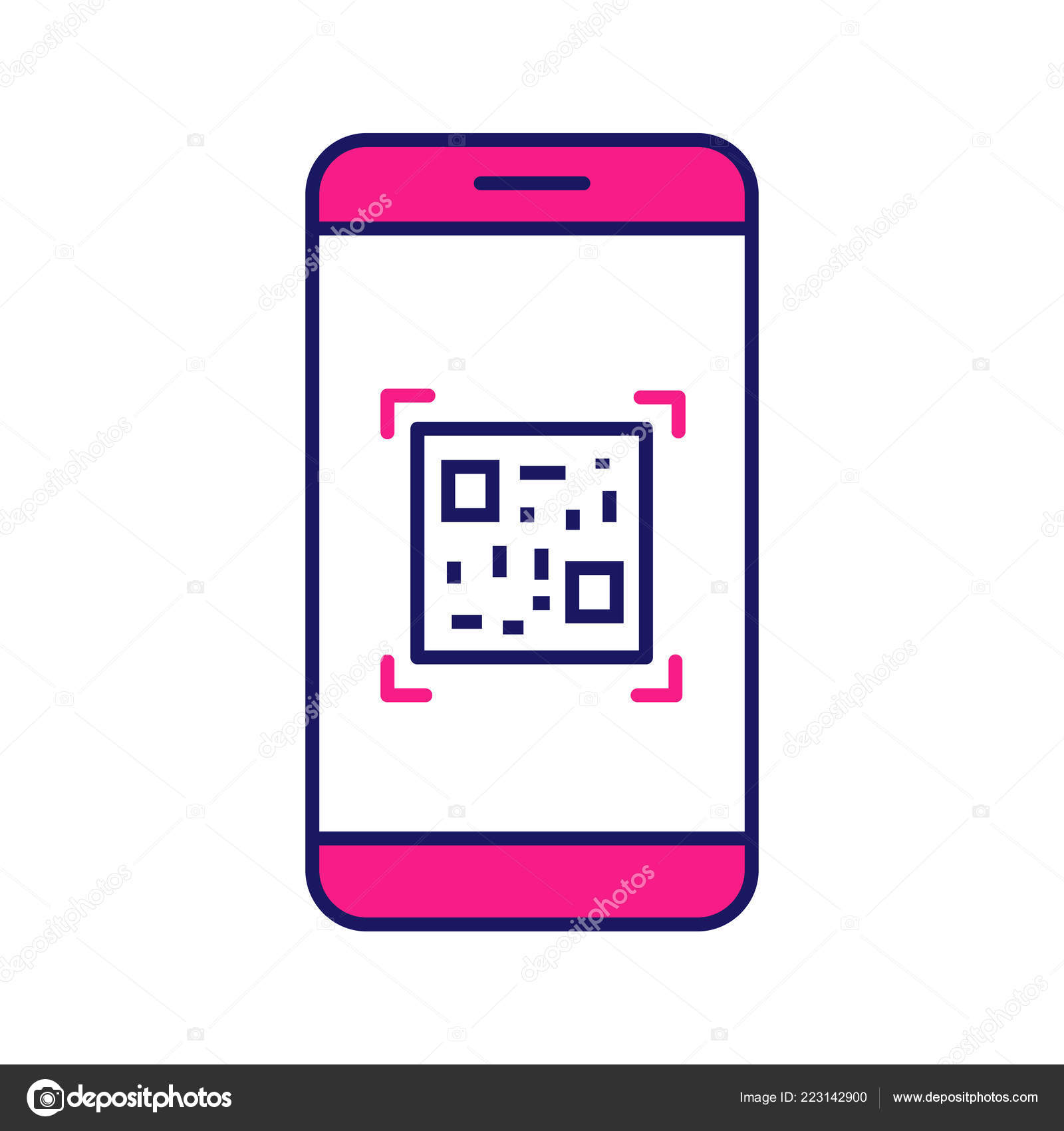 Code Scanning Smartphone App Color Icon Matrix Barcode Scanner Code