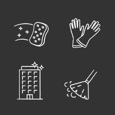 Cleaning service chalk icons set. Household gloves, sweeping broom, sponge, clean offices. Isolated vector chalkboard illustrations icon