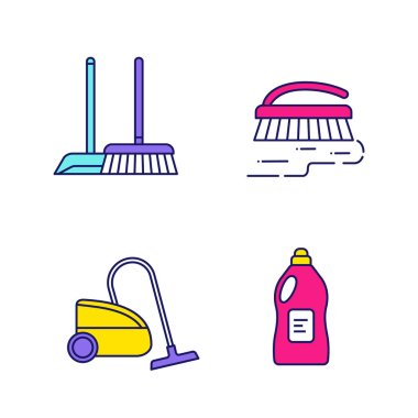 Cleaning service color icons set. Scoop and sweeping brush, vacuum cleaner, scrub brush, cleaning product. Isolated vector illustrations icon
