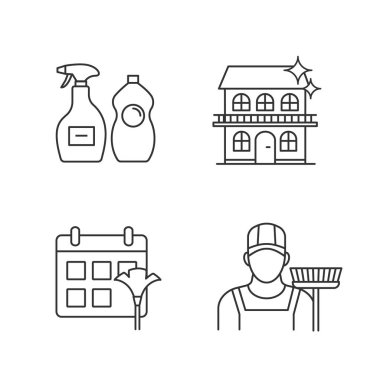 Cleaning service linear icons set. Sweeper, cleaning schedule, cleaners, cottage. Thin line contour symbols. Isolated vector outline illustrations. Editable stroke icon