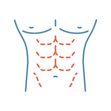Male body contouring surgery color icon. Male tummy tuck. Mens abdominoplasty. Plastic surgery for men. Isolated vector illustration