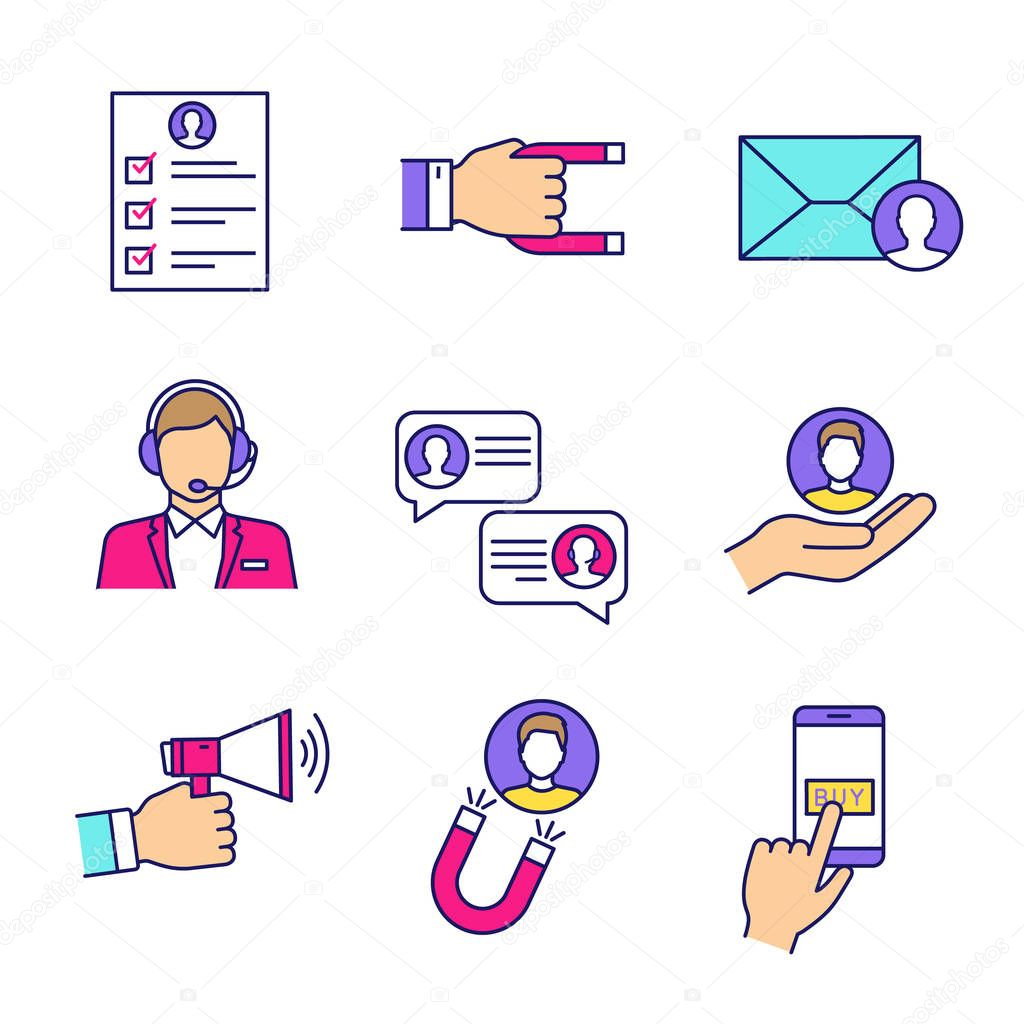Customer Retention And Loyalty Color Icons Set Survey Client Attraction Target Mailing Call Center Support Chat Customer Service Advertising Pay Per Click Isolated Vector Illustrations Premium Vector In Adobe Illustrator Ai
