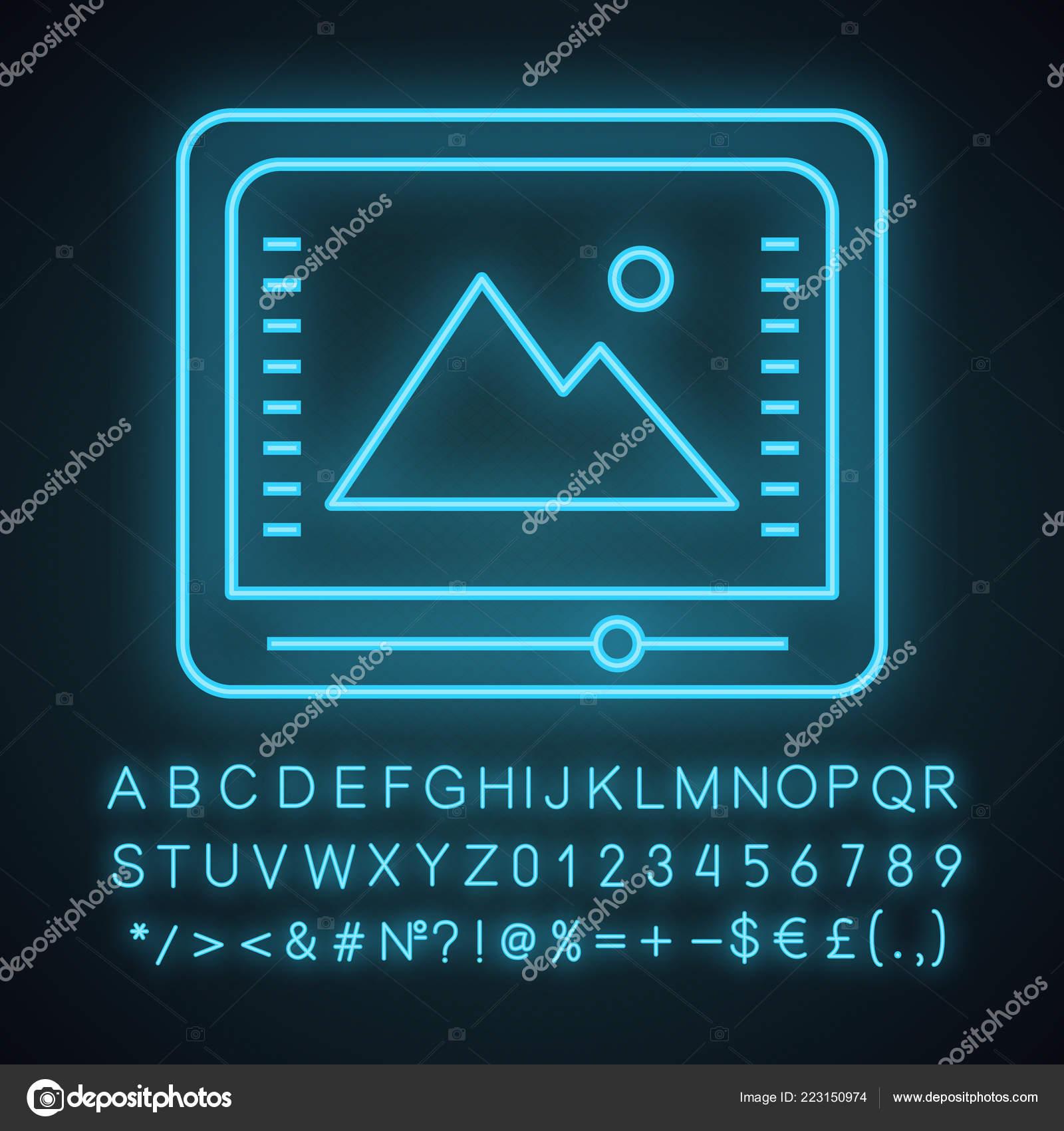 Color Correction Grading Neon Light Icon Photo Video Editing