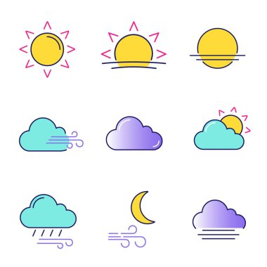 Weather forecast color icons set. Sun, sunrise, sunset, wind, cloud, partly cloudy weather, pouring rain, windy night, fog. Isolated vector illustrations icon