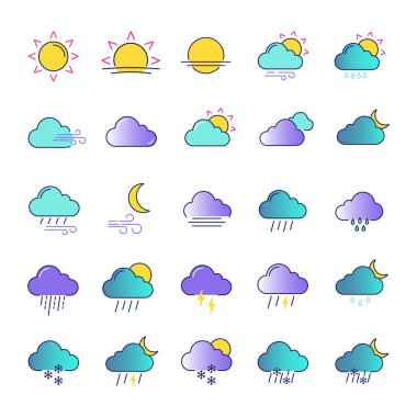 Weather forecast color icons set. Snow, rain, sleet. Shower or drizzle, thunderstorm. Sunny, cloudy, foggy and windy weather. Isolated vector illustrations icon