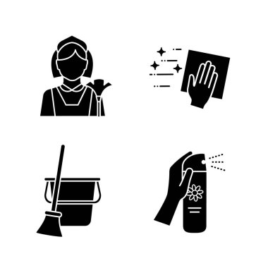 Cleaning service glyph icons set. Maid, cleaning napkin, broom and bucket, air freshener. Silhouette symbols. Vector isolated illustration icon