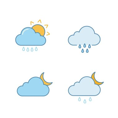 Weather forecast color icons set. Rain with sun, rainy weather, cloudy night, drizzle and scattered shower. Isolated vector illustrations icon
