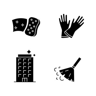 Cleaning service glyph icons set. Household gloves, sweeping broom, sponge, clean offices. Silhouette symbols. Vector isolated illustration icon
