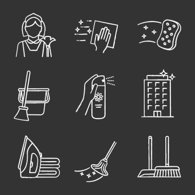Cleaning service chalk icons set. Maid, napkin, sponge, broom and bucket, air freshener, ironing, offices cleaning, scoop, brush, mop. Isolated vector chalkboard illustrations icon