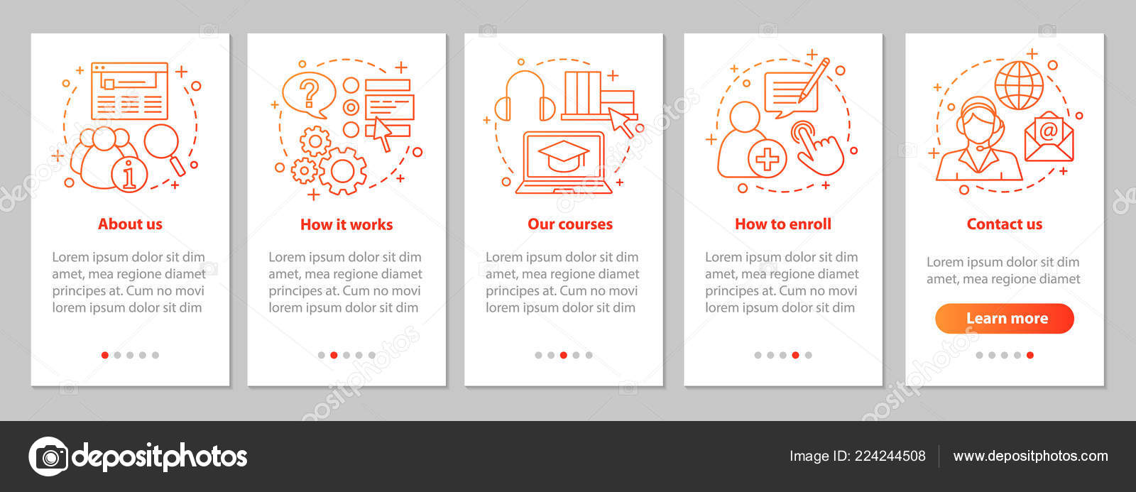 Online Courses Onboarding Mobile App Page Screen Linear Concepts