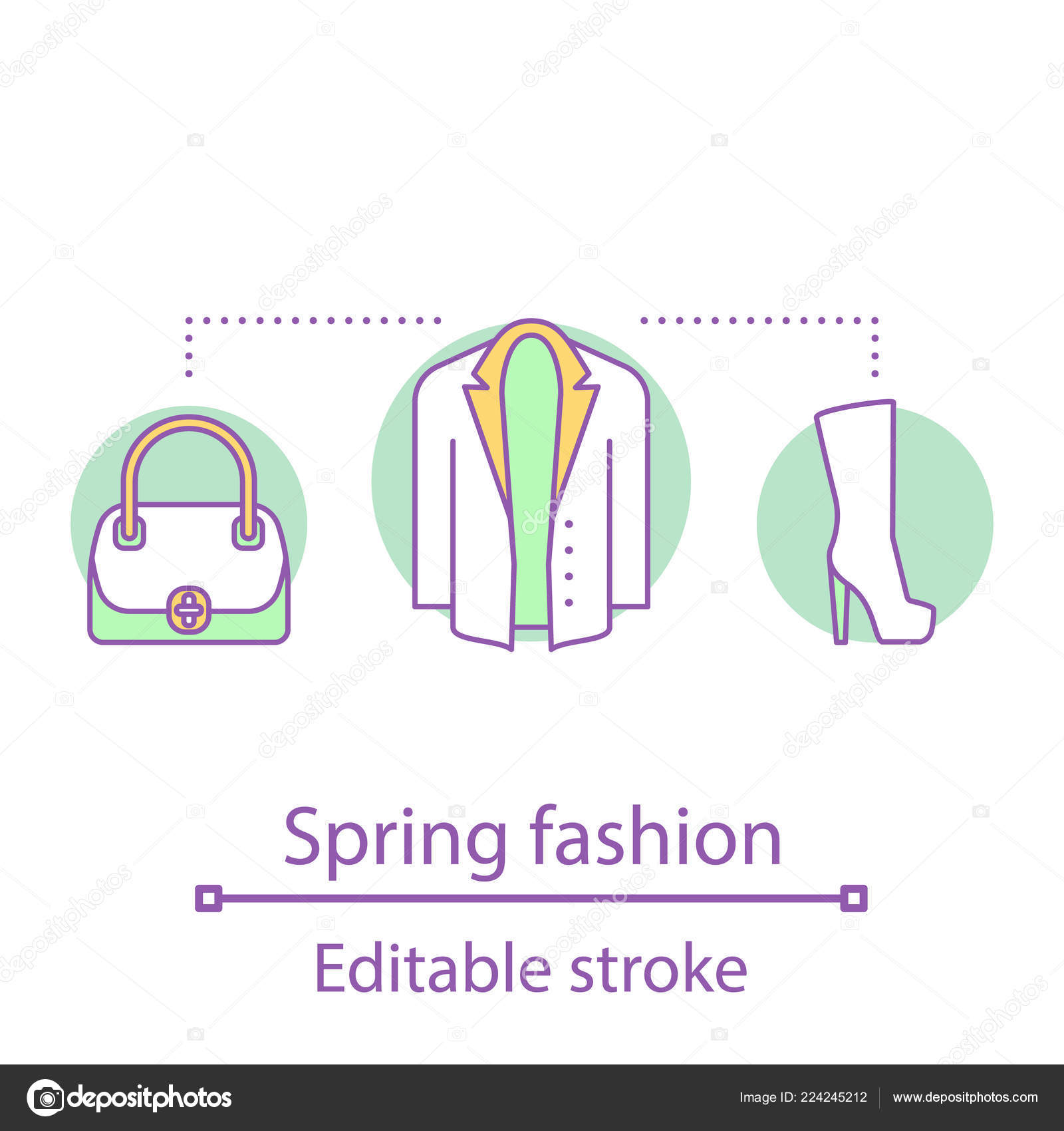 b7ad5efcc97ff2 Spring Fashion Concept Icon Casual Style Women Clothes Accessories Idea —  Stock Vector