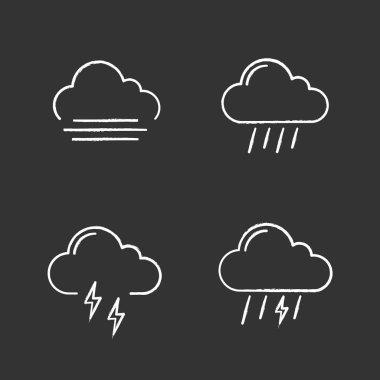 Weather forecast chalk icons set. Autumn. Fog, rainy weather, thunder, thunderstorm. Isolated vector chalkboard illustrations icon