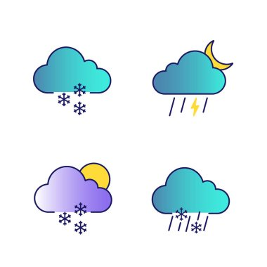 Weather forecast color icons set. Light snow, night thunderstorm, scattered snow, sleet weather. Isolated vector illustrations icon