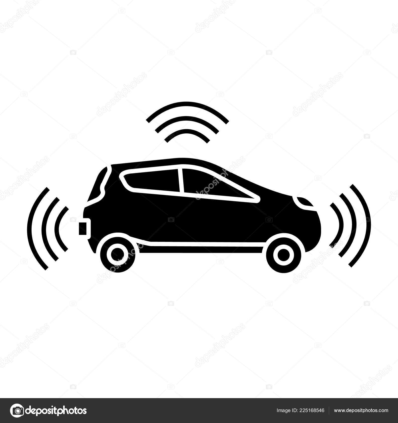 autonomous car side view glyph icon smart car sensors