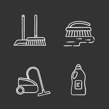 Cleaning service chalk icons set. Scoop and sweeping brush, vacuum cleaner, scrub brush, cleaning product. Isolated vector chalkboard illustrations icon