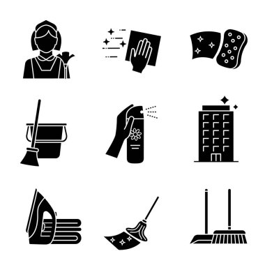 Cleaning service glyph icons set. Maid, napkin, sponge, broom and bucket, air freshener, ironing, offices cleaning, scoop, brush, mop. Silhouette symbols. Vector isolated illustration icon