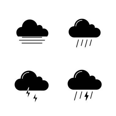 Weather forecast glyph icons set. Autumn. Fog, rainy weather, thunder, thunderstorm. Silhouette symbols. Vector isolated illustration icon