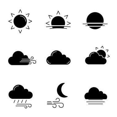 Weather forecast glyph icons set. Sun, sunrise, sunset, wind, cloud, partly cloudy weather, pouring rain, windy night, fog. Silhouette symbols. Vector isolated illustration icon