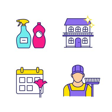 Cleaning service color icons set. Sweeper, cleaning schedule, cleaners, cottage. Isolated vector illustrations icon