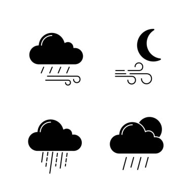 Weather forecast glyph icons set. Windy rainy weather, wind at night, heavy rain, scattered shower. Silhouette symbols. Vector isolated illustration icon