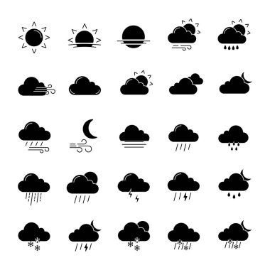 Weather forecast glyph icons set. Snow, rain, sleet. Shower or drizzle, thunderstorm. Sunny, cloudy, foggy and windy weather. Silhouette symbols. Vector isolated illustration icon