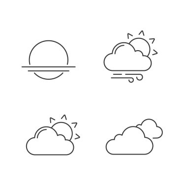 Weather forecast linear icons set. Sunrise, sunset, partly cloudy and windy weather, clouds. Thin line contour symbols. Isolated vector outline illustrations. Editable stroke icon