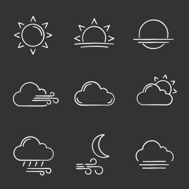 Weather forecast chalk icons set. Sun, sunrise, sunset, wind, cloud, partly cloudy weather, pouring rain, windy night, fog. Isolated vector chalkboard illustrations icon
