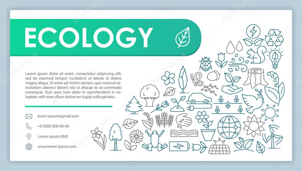 Ecology advertising web banner vector template. Environment protection. Save planet. Website contact page. Business card layout with linear illustrations. Webpage template. Print design idea