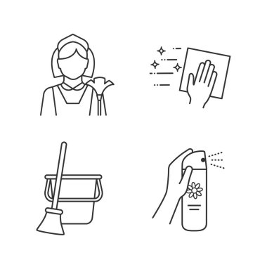Cleaning service linear icons set. Maid, cleaning napkin, broom and bucket, air freshener. Thin line contour symbols. Isolated vector outline illustrations. Editable stroke icon