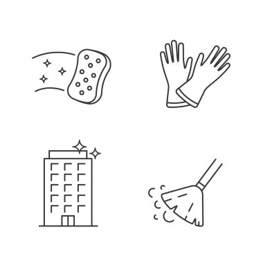 Cleaning service linear icons set. Household gloves, sweeping broom, sponge, clean offices. Thin line contour symbols. Isolated vector outline illustrations. Editable stroke icon