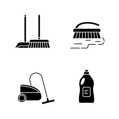Cleaning service glyph icons set. Scoop and sweeping brush, vacuum cleaner, scrub brush, cleaning product. Silhouette symbols. Vector isolated illustration icon