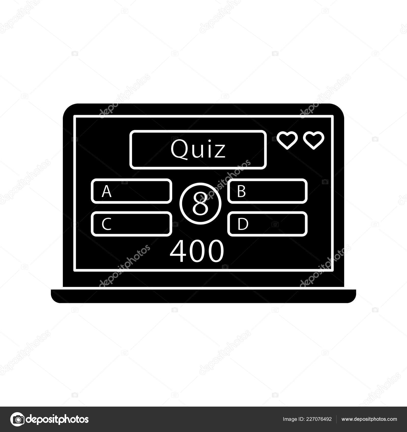 Online Quiz Glyph Icon Play Intellectual Game Lottery Online