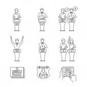 Quiz Show lineare Symbole auf weißem Hintergrund