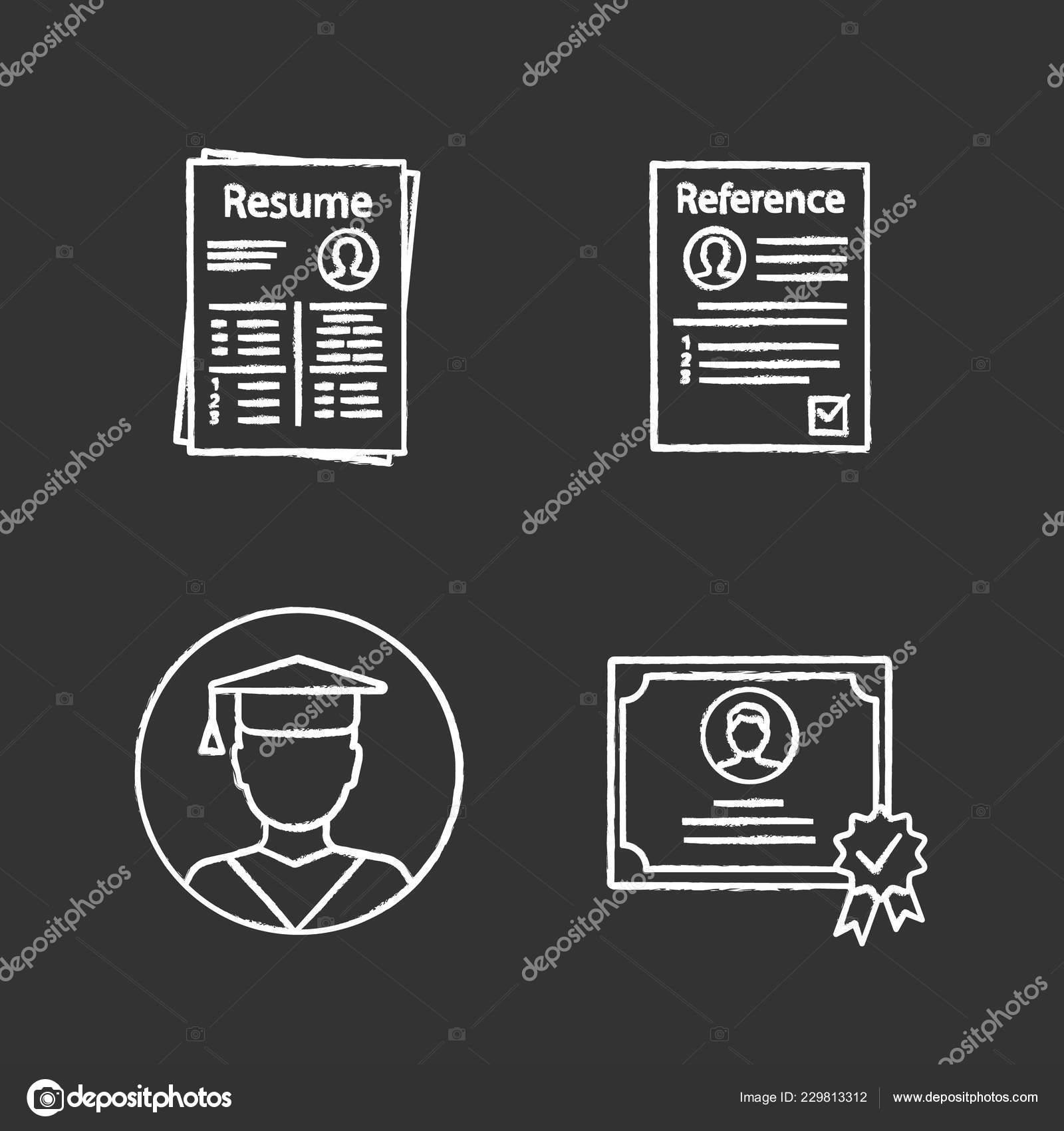 Resume Chalk Icons Black Background Stock Vector C Bsd 229813312