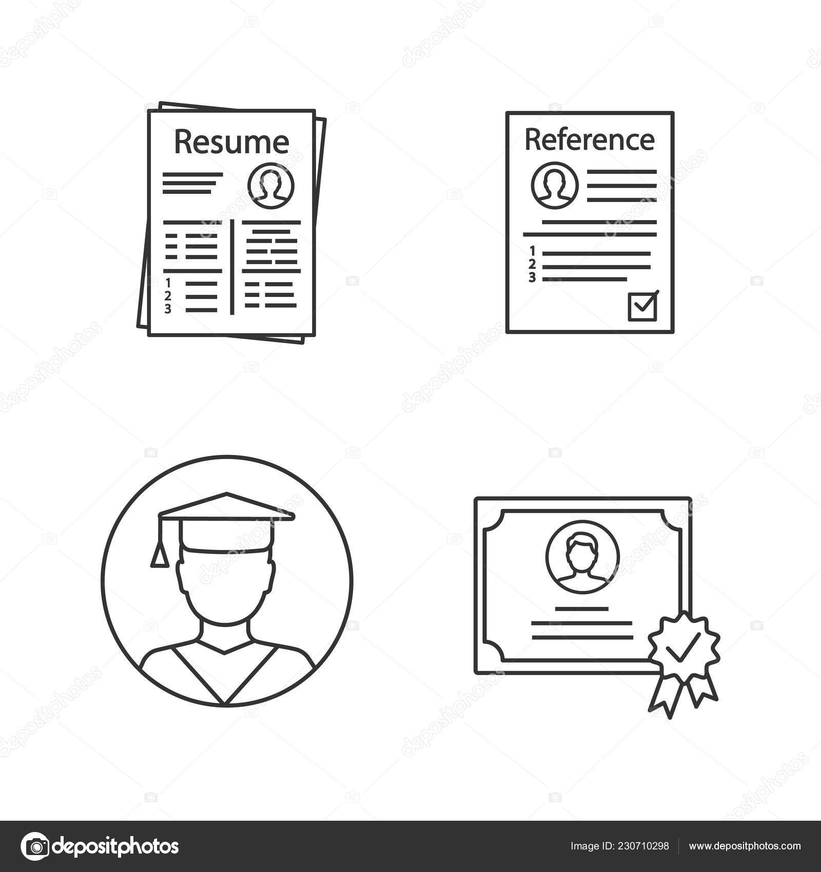 Creative Resume Icons On White Background Vector By