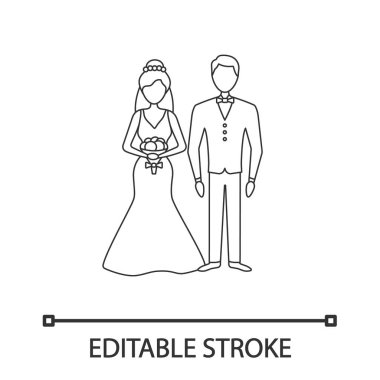 Bride and bridegroom linear icon on white background