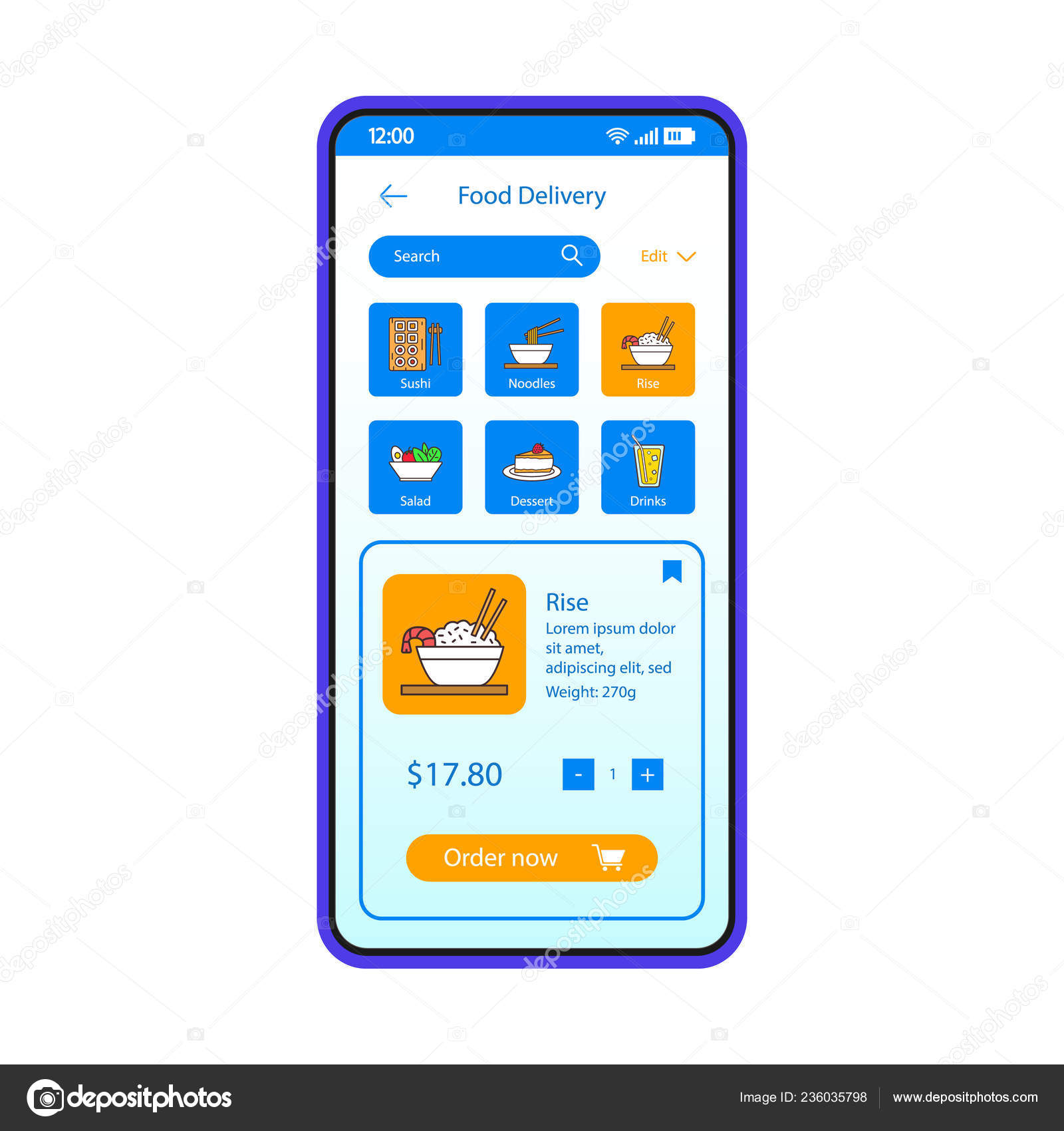 Food Delivery Smartphone App Interface Vector Template Mobile