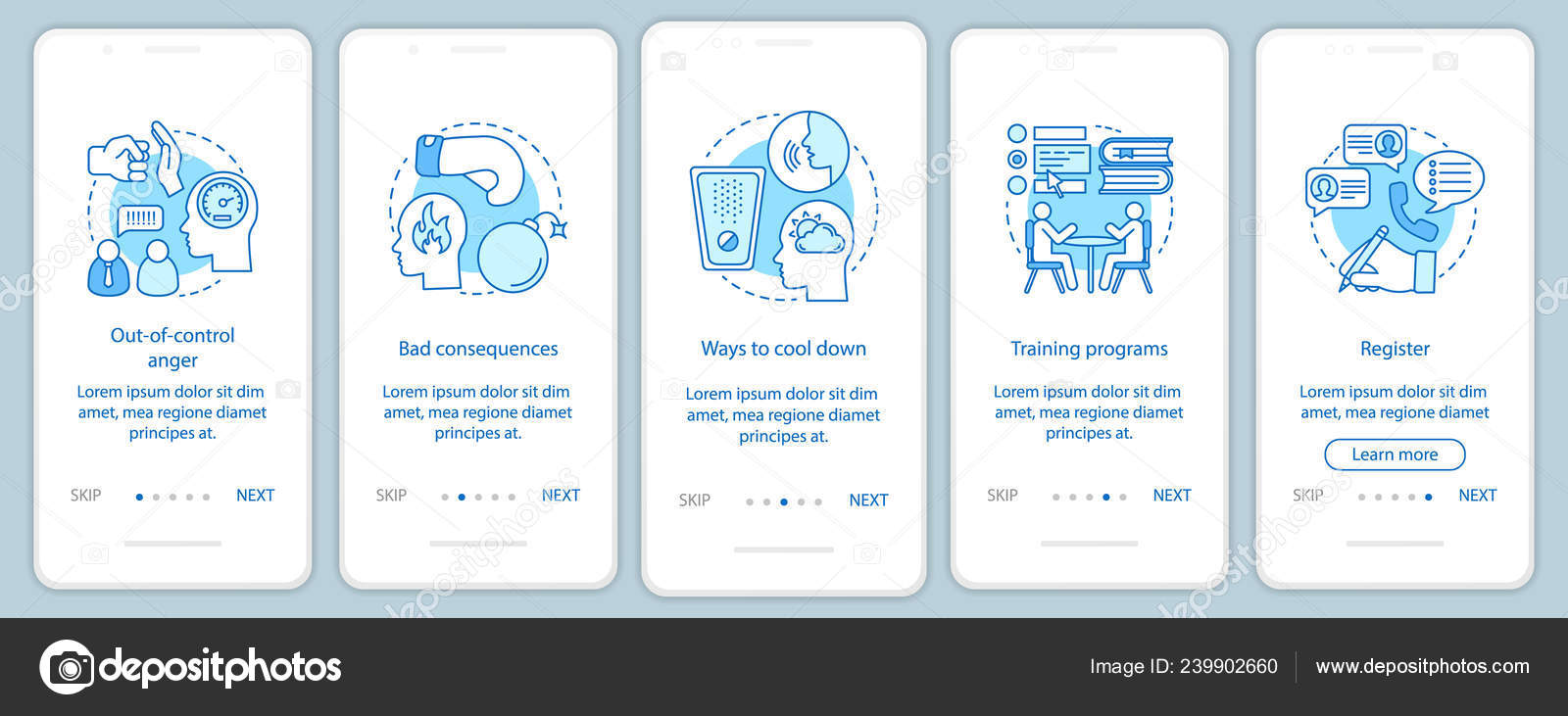 Anger Management Onboarding Mobile App Pages Screens — Stock