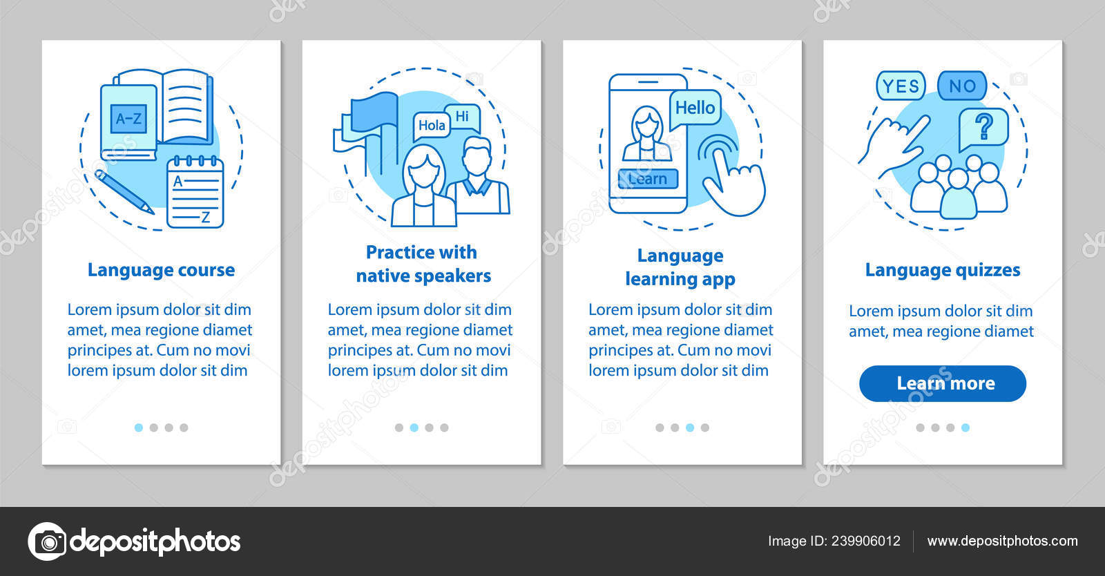 Language Learning Onboarding Mobile App Pages Screens