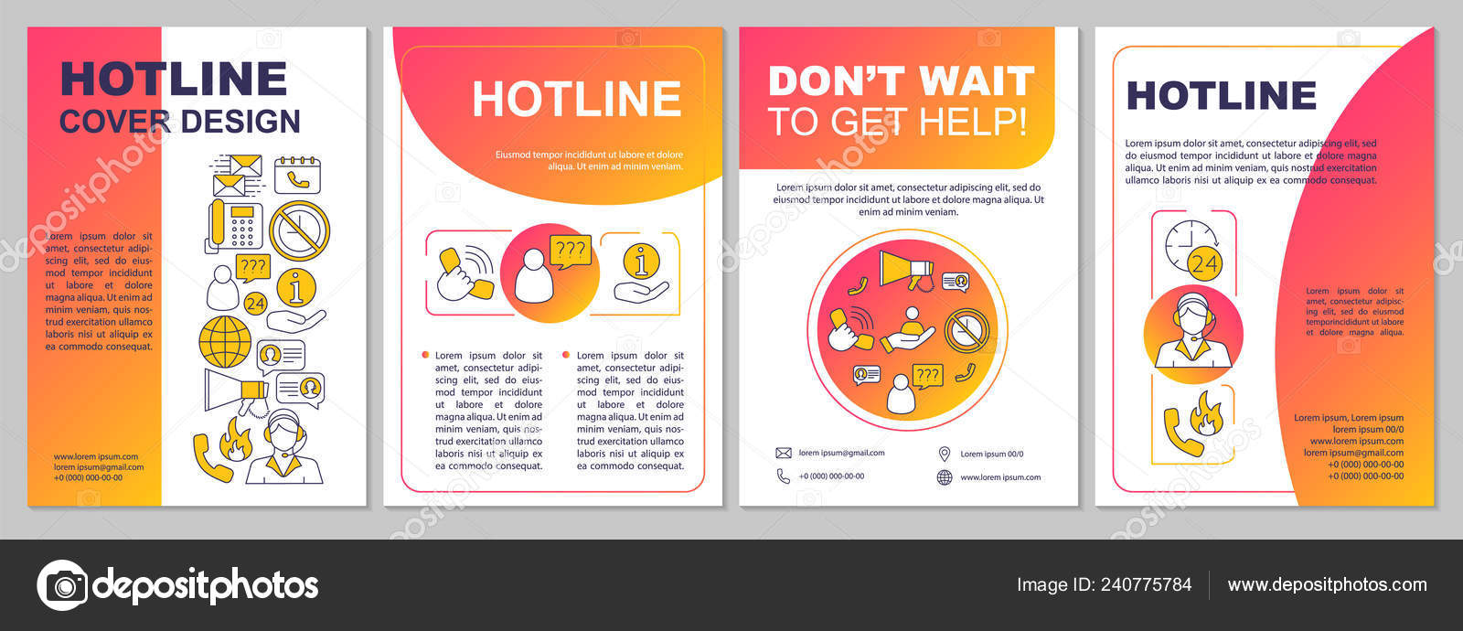 Hotline Brochure Template Layout Call Center Flyer Booklet