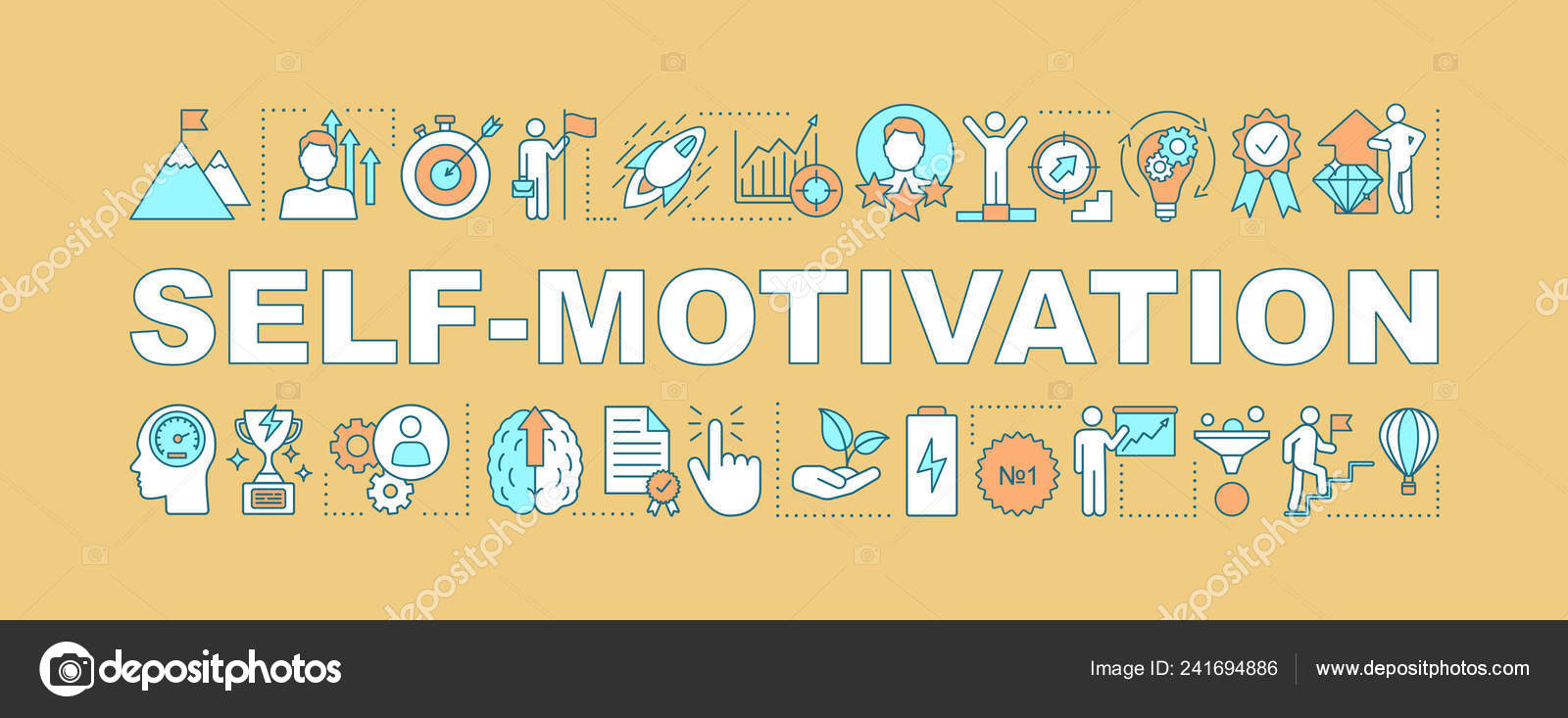 Self Motivation Word Concept Banner Goal Achieving Skill Improvement Personal Stock Vector C Bsd 241694886